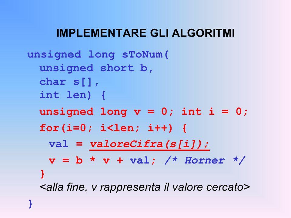 IMPLEMENTARE GLI ALGORITMI unsigned long sToNum( unsigned short b, char s[], int len) { unsigned long v = 0; int i = 0; for(i=0; i<len; i++) { val = v