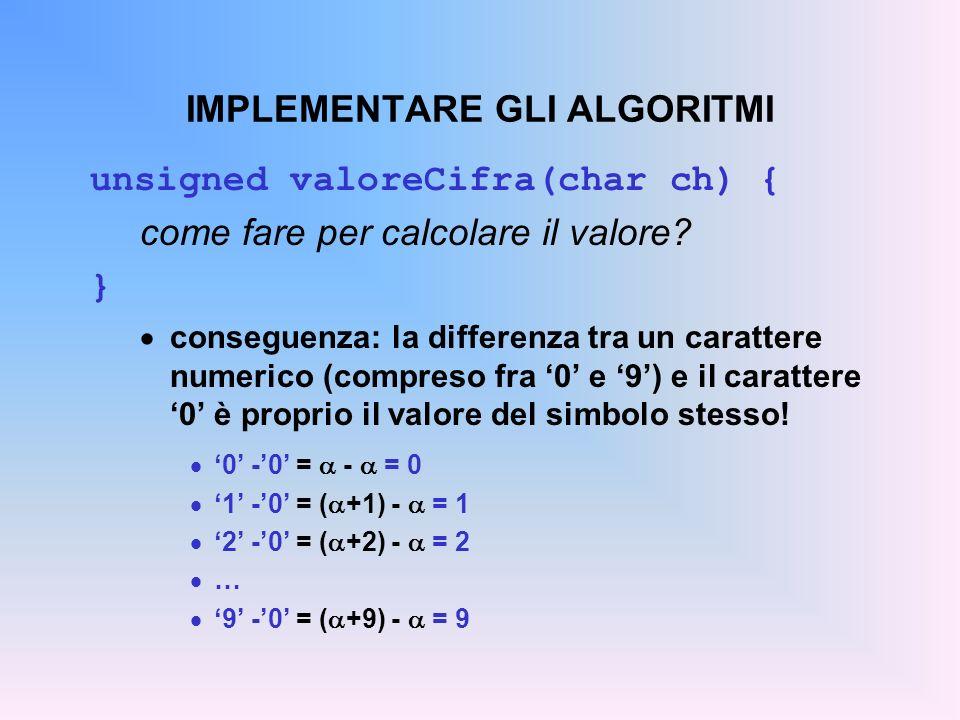 IMPLEMENTARE GLI ALGORITMI unsigned valoreCifra(char ch) { come fare per calcolare il valore? } conseguenza: la differenza tra un carattere numerico (