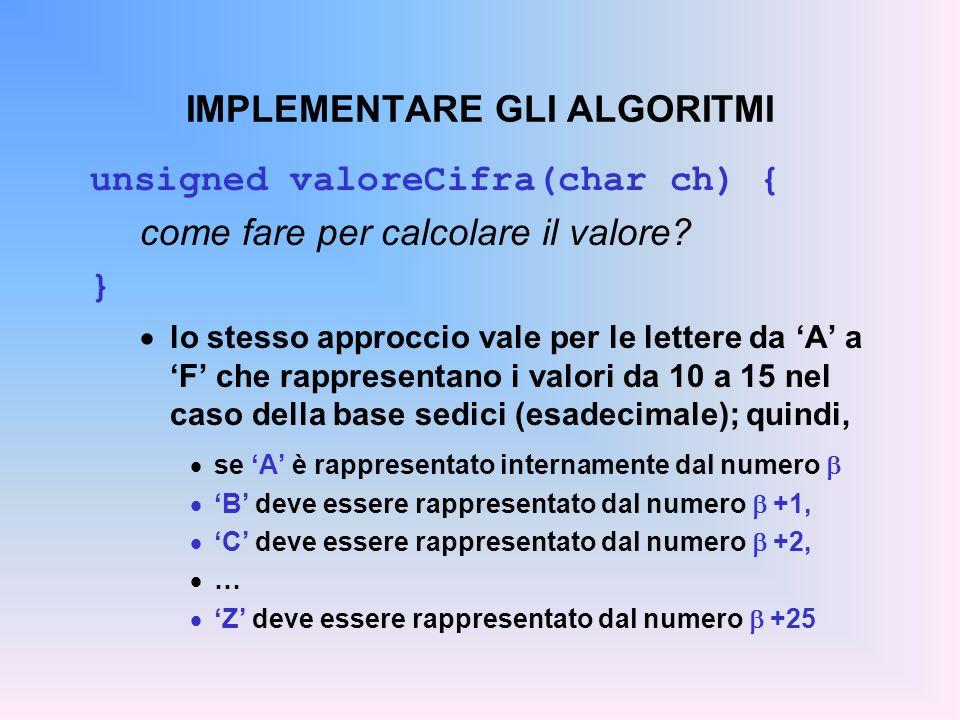 IMPLEMENTARE GLI ALGORITMI unsigned valoreCifra(char ch) { come fare per calcolare il valore? } lo stesso approccio vale per le lettere da A a F che r