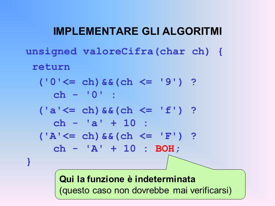 IMPLEMENTARE GLI ALGORITMI unsigned valoreCifra(char ch) { return ('0'<= ch)&&(ch <= '9') ? ch - '0' : ('a'<= ch)&&(ch <= 'f') ? ch - 'a' + 10 : ('A'<