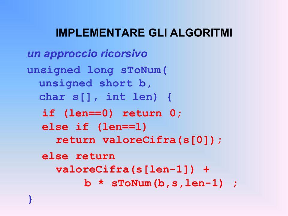 IMPLEMENTARE GLI ALGORITMI un approccio ricorsivo unsigned long sToNum( unsigned short b, char s[], int len) { if (len==0) return 0; else if (len==1)