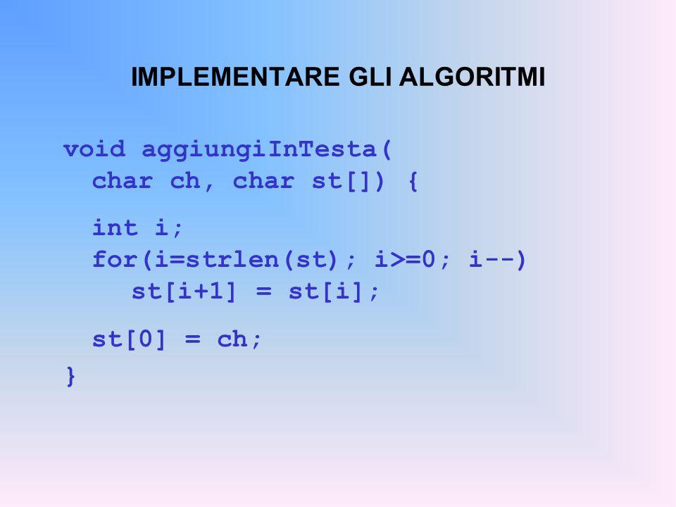 IMPLEMENTARE GLI ALGORITMI void aggiungiInTesta( char ch, char st[]) { int i; for(i=strlen(st); i>=0; i--) st[i+1] = st[i]; st[0] = ch; }