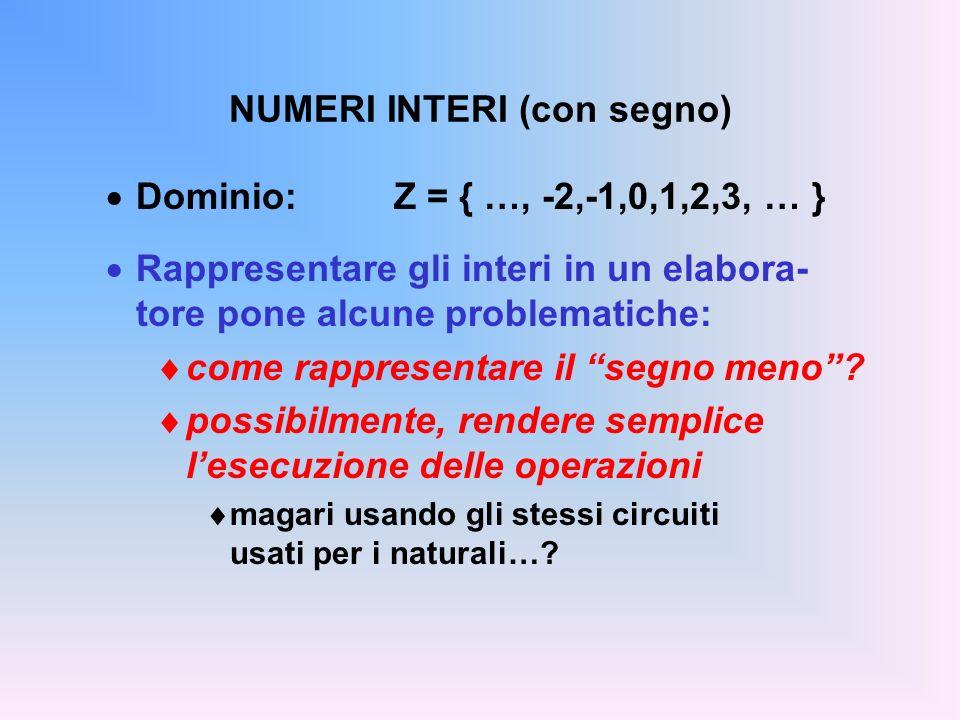 NUMERI INTERI (con segno) Dominio: Z = { …, -2,-1,0,1,2,3, … } Rappresentare gli interi in un elabora- tore pone alcune problematiche: come rappresent