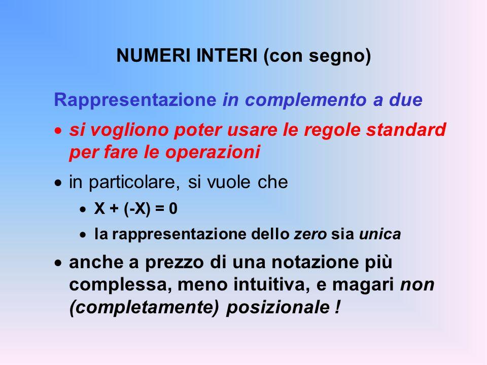 NUMERI INTERI (con segno) Rappresentazione in complemento a due si vogliono poter usare le regole standard per fare le operazioni in particolare, si v