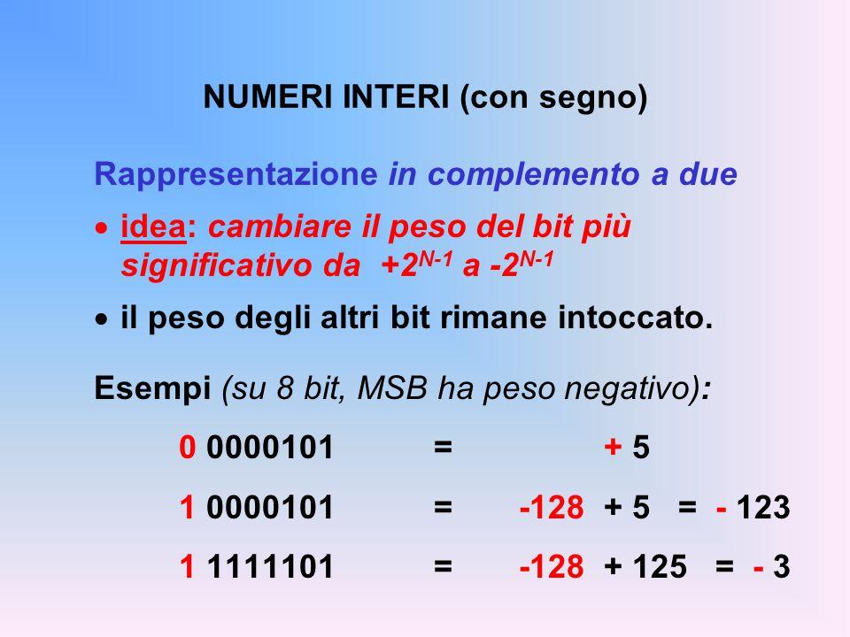 NUMERI INTERI (con segno) Rappresentazione in complemento a due idea: cambiare il peso del bit più significativo da +2 N-1 a -2 N-1 il peso degli altr