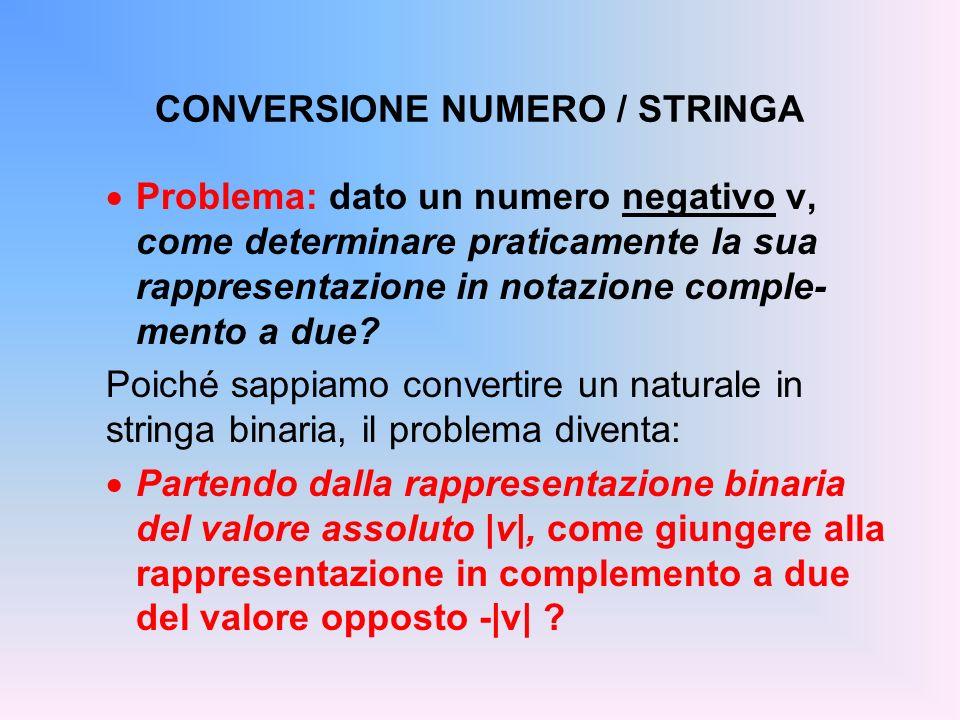 CONVERSIONE NUMERO / STRINGA Problema: dato un numero negativo v, come determinare praticamente la sua rappresentazione in notazione comple- mento a d