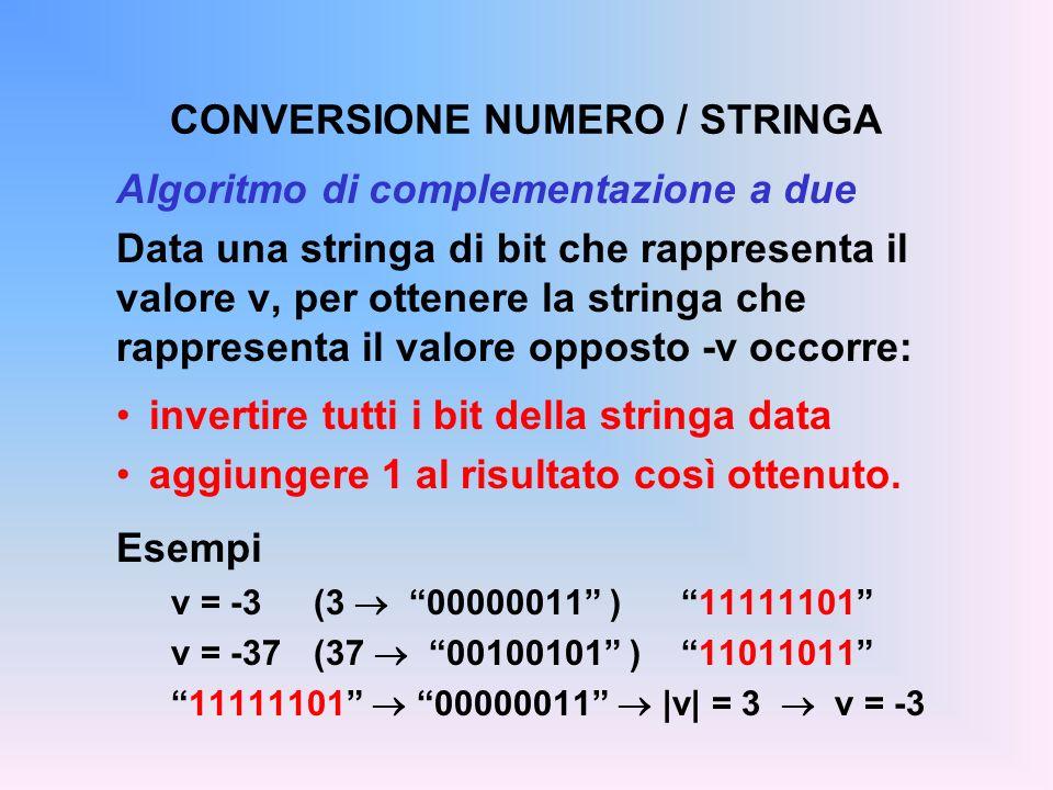 CONVERSIONE NUMERO / STRINGA Algoritmo di complementazione a due Data una stringa di bit che rappresenta il valore v, per ottenere la stringa che rapp