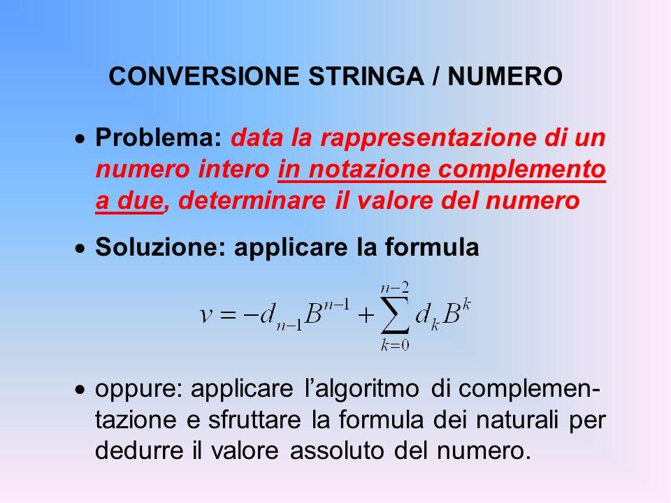 CONVERSIONE STRINGA / NUMERO Problema: data la rappresentazione di un numero intero in notazione complemento a due, determinare il valore del numero S