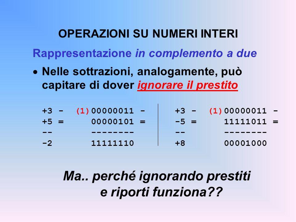 OPERAZIONI SU NUMERI INTERI Rappresentazione in complemento a due Nelle sottrazioni, analogamente, può capitare di dover ignorare il prestito +3 - (1)