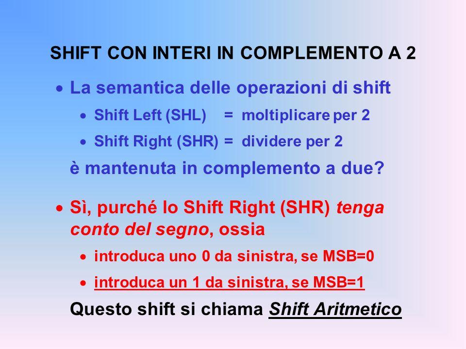 SHIFT CON INTERI IN COMPLEMENTO A 2 La semantica delle operazioni di shift Shift Left (SHL) =moltiplicare per 2 Shift Right (SHR) = dividere per 2 è m