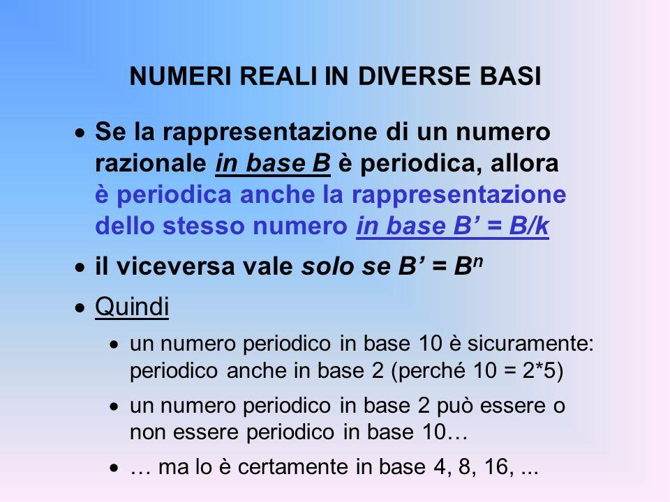 NUMERI REALI IN DIVERSE BASI Se la rappresentazione di un numero razionale in base B è periodica, allora è periodica anche la rappresentazione dello s