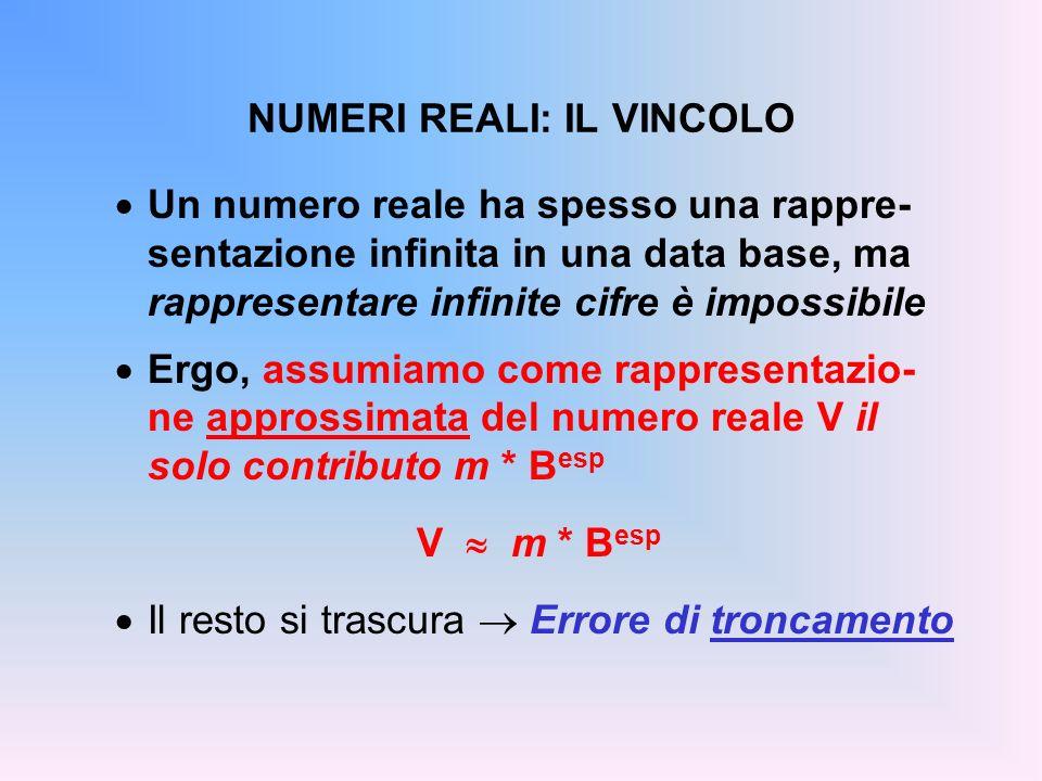 NUMERI REALI: IL VINCOLO Un numero reale ha spesso una rappre- sentazione infinita in una data base, ma rappresentare infinite cifre è impossibile Erg