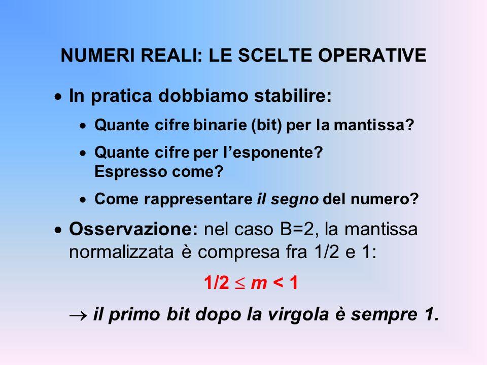 NUMERI REALI: LE SCELTE OPERATIVE In pratica dobbiamo stabilire: Quante cifre binarie (bit) per la mantissa? Quante cifre per lesponente? Espresso com