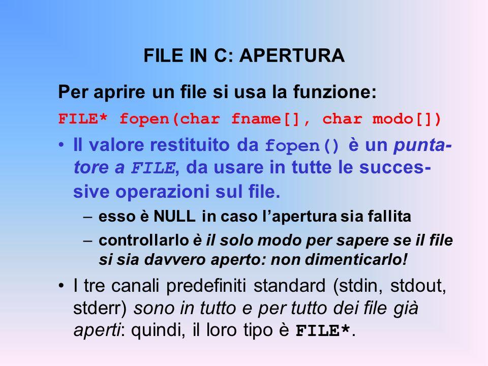 FILE IN C: APERTURA Per aprire un file si usa la funzione: FILE* fopen(char fname[], char modo[]) Il valore restituito da fopen() è un punta- tore a F