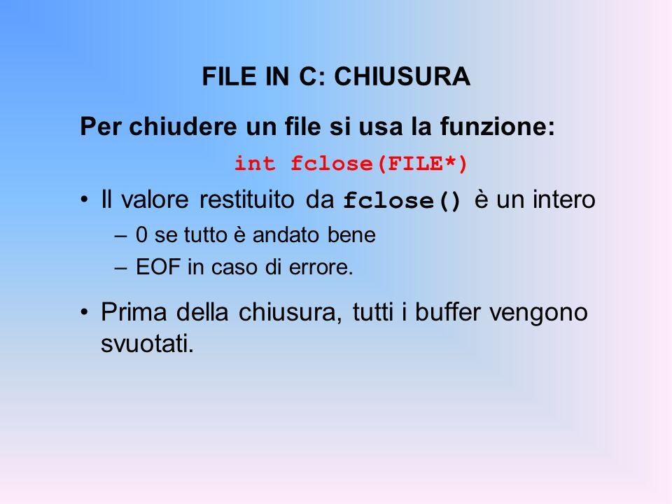 FILE IN C: CHIUSURA Per chiudere un file si usa la funzione: int fclose(FILE*) Il valore restituito da fclose() è un intero –0 se tutto è andato bene