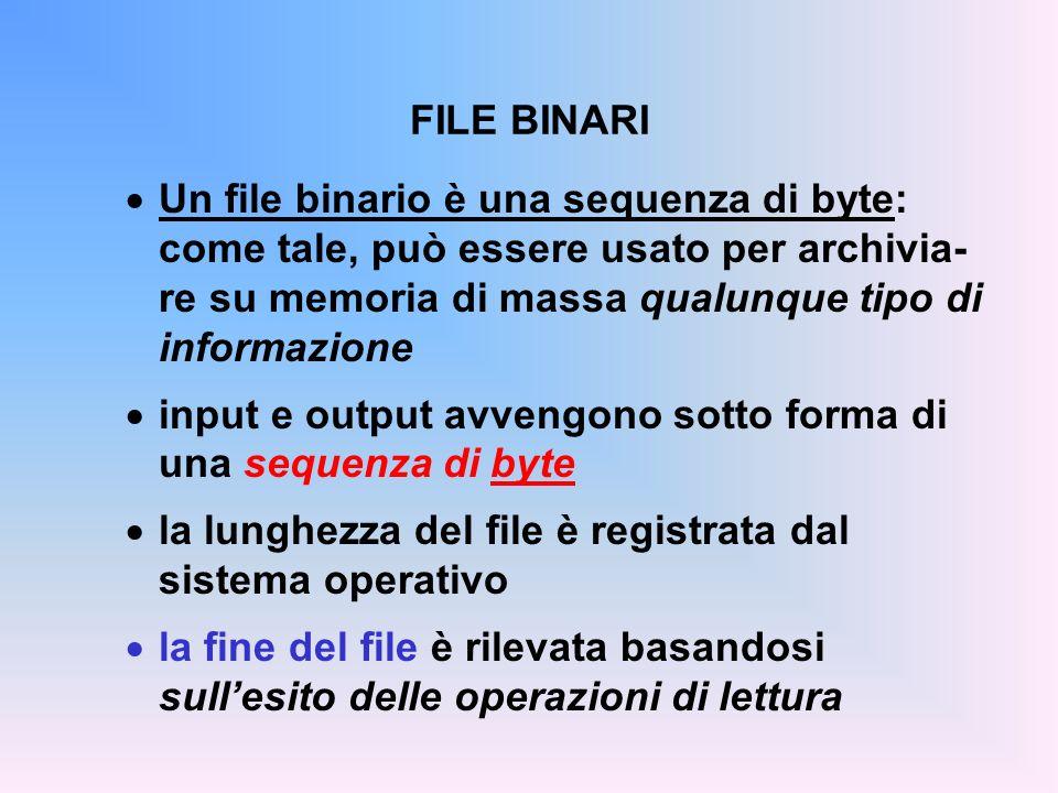 FILE BINARI Un file binario è una sequenza di byte: come tale, può essere usato per archivia- re su memoria di massa qualunque tipo di informazione in