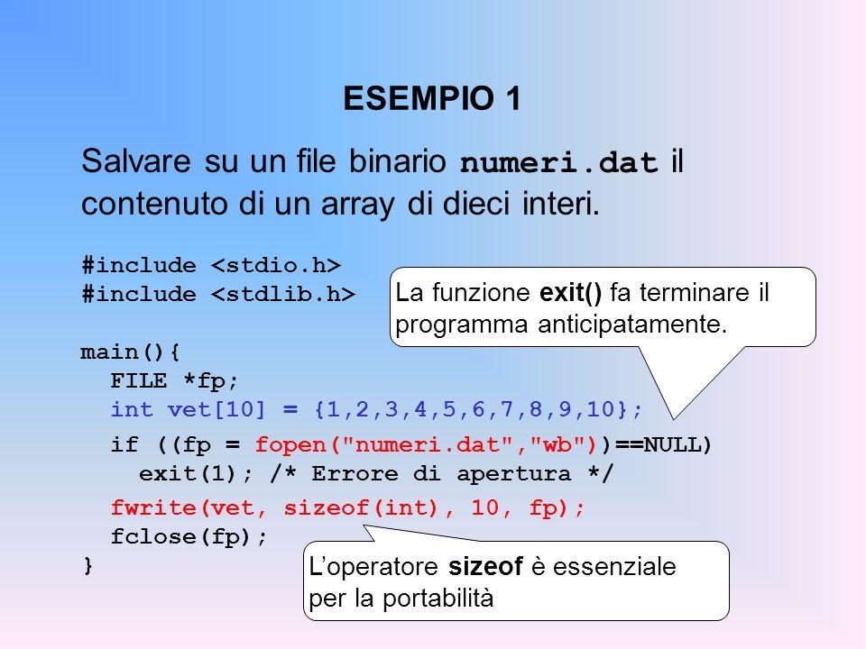 ESEMPIO 1 Salvare su un file binario numeri.dat il contenuto di un array di dieci interi. #include main(){ FILE *fp; int vet[10] = {1,2,3,4,5,6,7,8,9,