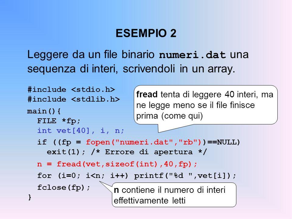 ESEMPIO 2 Leggere da un file binario numeri.dat una sequenza di interi, scrivendoli in un array. #include main(){ FILE *fp; int vet[40], i, n; if ((fp