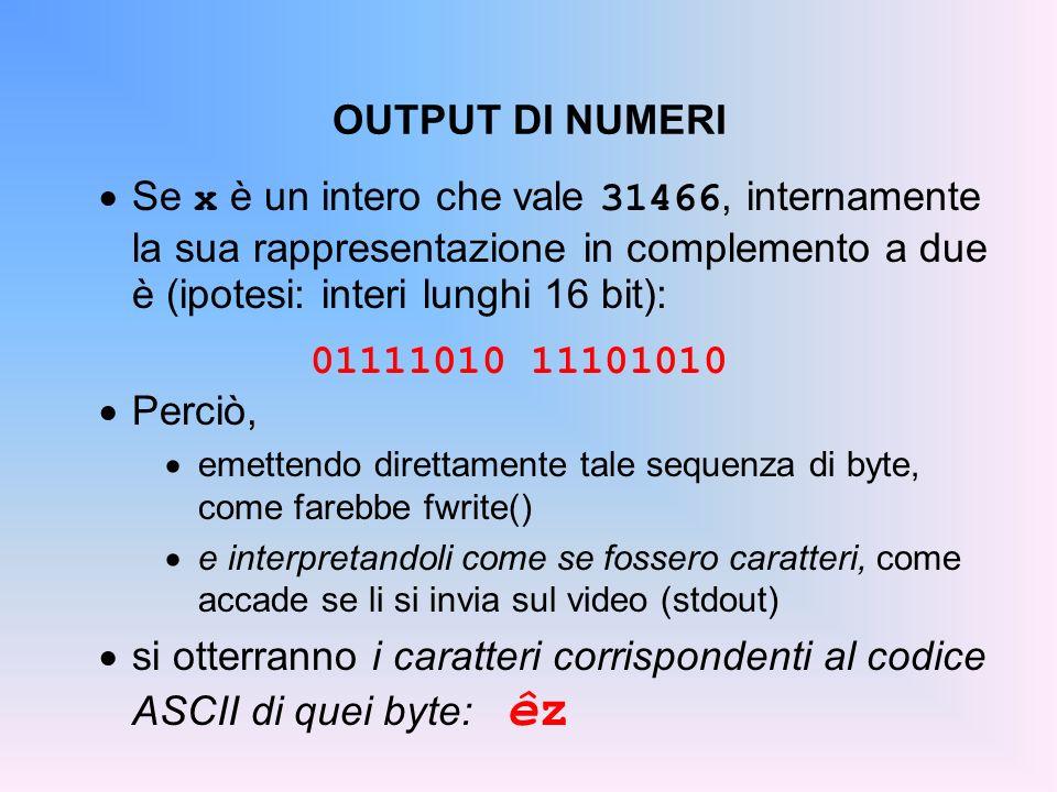 OUTPUT DI NUMERI Se x è un intero che vale 31466, internamente la sua rappresentazione in complemento a due è (ipotesi: interi lunghi 16 bit): 0111101