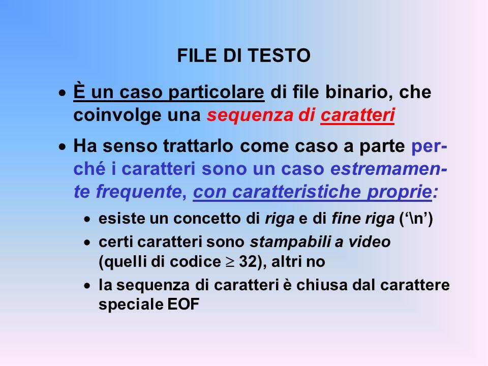 FILE DI TESTO È un caso particolare di file binario, che coinvolge una sequenza di caratteri Ha senso trattarlo come caso a parte per- ché i caratteri