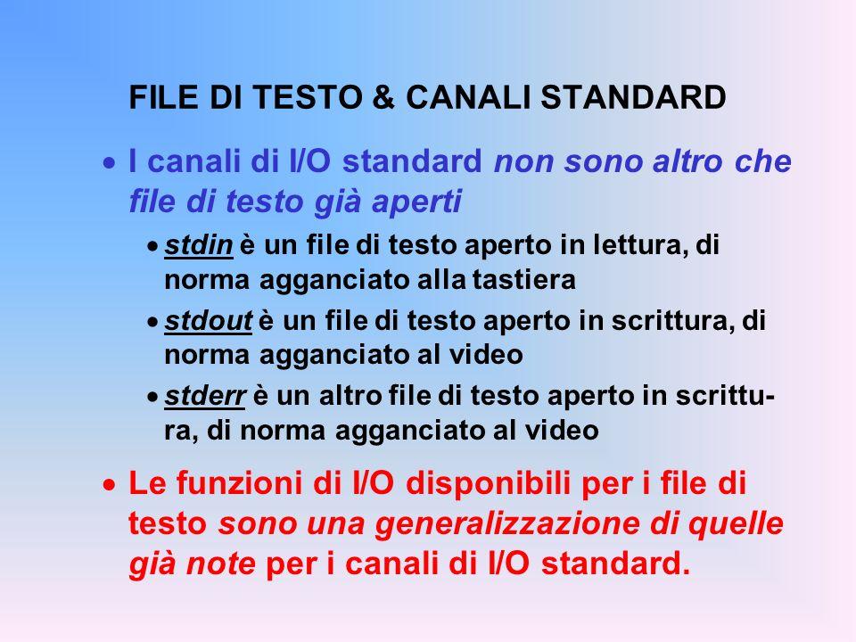 FILE DI TESTO & CANALI STANDARD I canali di I/O standard non sono altro che file di testo già aperti stdin è un file di testo aperto in lettura, di no