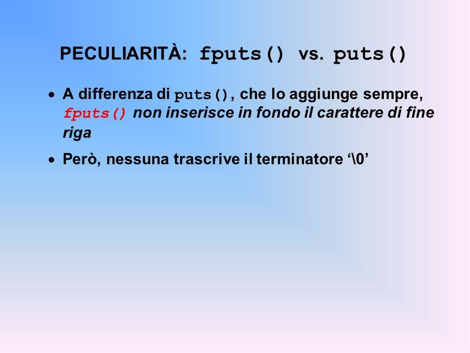 PECULIARITÀ: fputs() vs. puts() A differenza di puts(), che lo aggiunge sempre, fputs() non inserisce in fondo il carattere di fine riga Però, nessuna