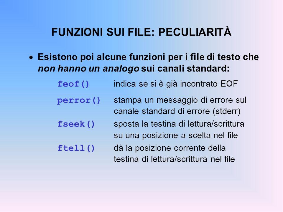 FUNZIONI SUI FILE: PECULIARITÀ Esistono poi alcune funzioni per i file di testo che non hanno un analogo sui canali standard: feof() indica se si è gi