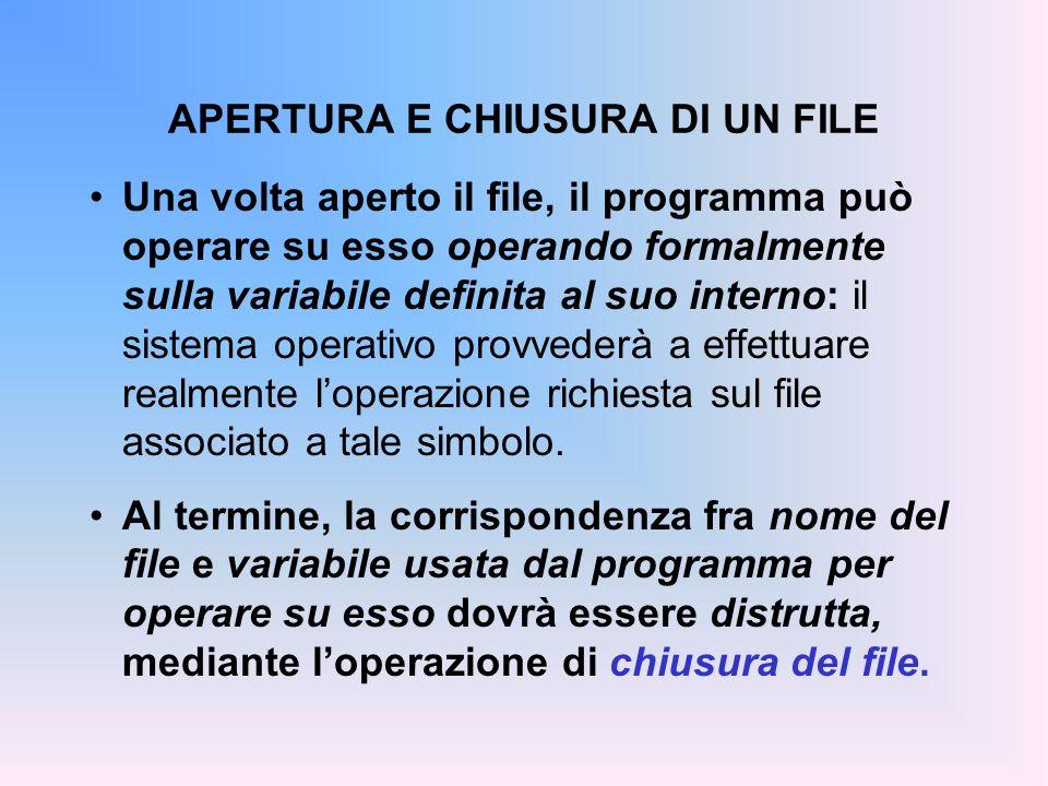 APERTURA E CHIUSURA DI UN FILE Una volta aperto il file, il programma può operare su esso operando formalmente sulla variabile definita al suo interno