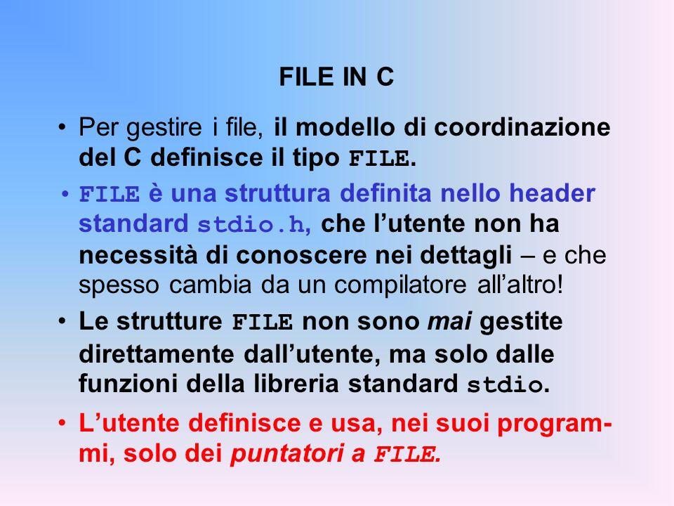 FILE IN C Per gestire i file, il modello di coordinazione del C definisce il tipo FILE. FILE è una struttura definita nello header standard stdio.h, c
