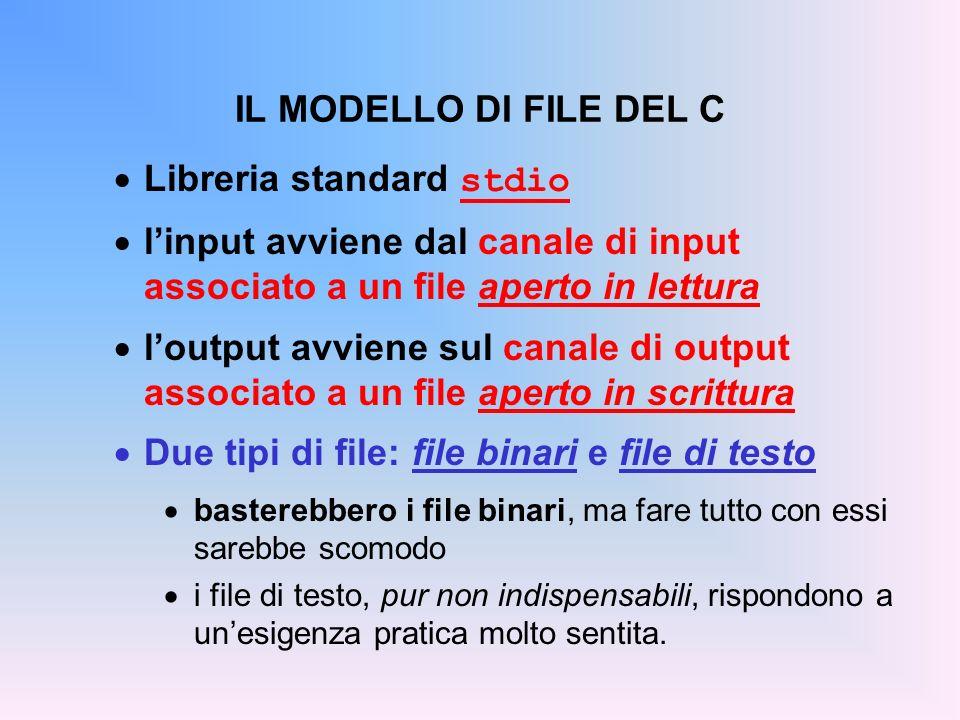 IL MODELLO DI FILE DEL C Libreria standard stdio linput avviene dal canale di input associato a un file aperto in lettura loutput avviene sul canale d