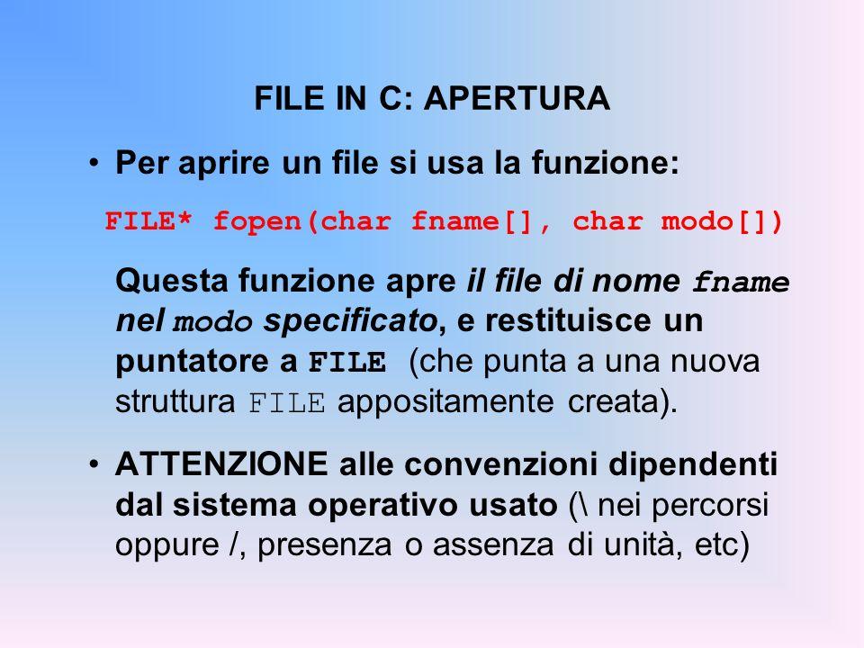FILE IN C: APERTURA Per aprire un file si usa la funzione: FILE* fopen(char fname[], char modo[]) Questa funzione apre il file di nome fname nel modo