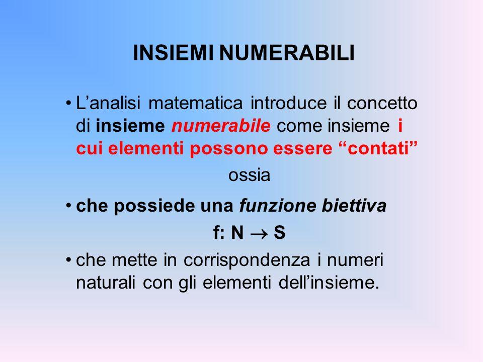 INSIEMI NUMERABILI Insiemi che possiedono una funzione biettiva f: N S che mette in corrispondenza i numeri naturali con gli elementi dellinsieme.