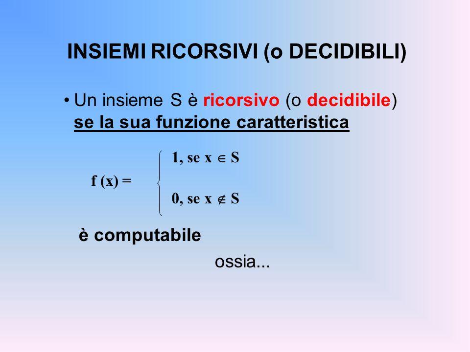 INSIEMI RICORSIVI (o DECIDIBILI) Un insieme S è ricorsivo (o decidibile) se la sua funzione caratteristica è computabile ossia... f (x) = 1, se x S 0,