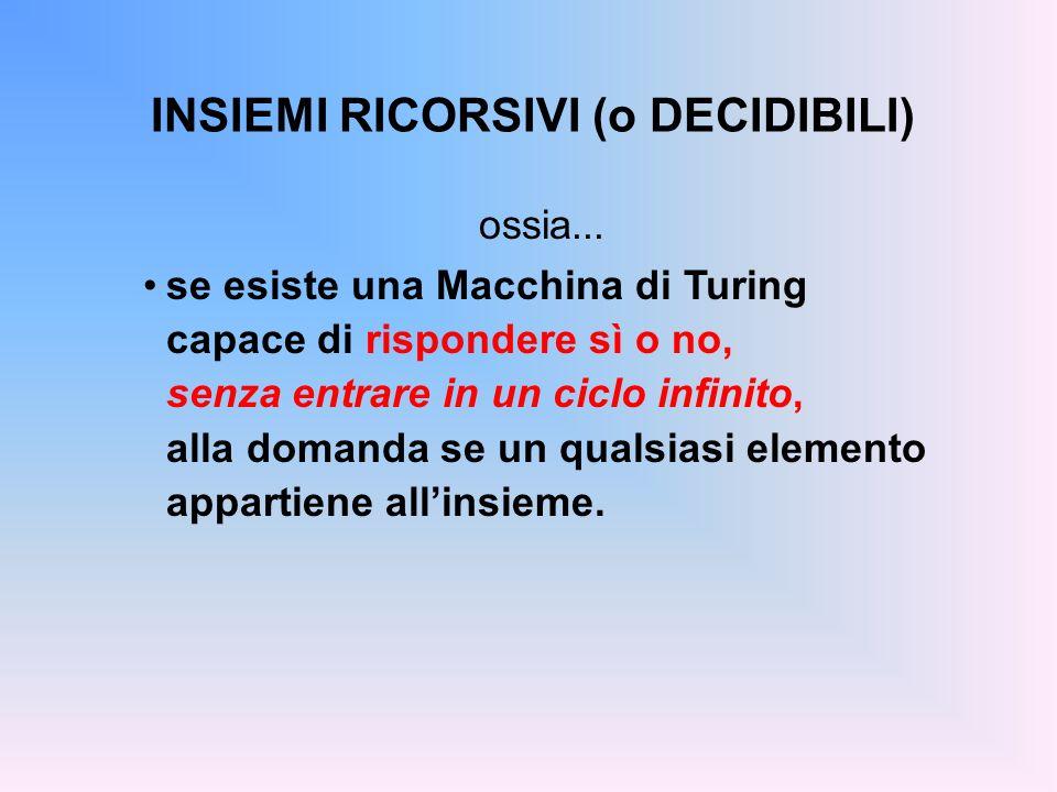 INSIEMI RICORSIVI (o DECIDIBILI) ossia... se esiste una Macchina di Turing capace di rispondere sì o no, senza entrare in un ciclo infinito, alla doma