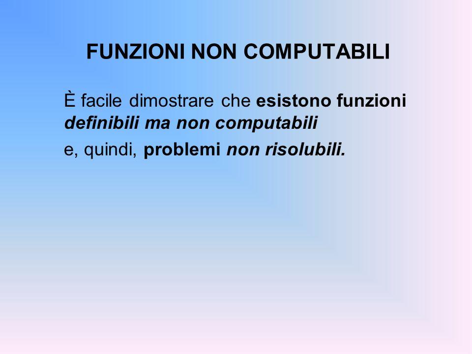 FUNZIONI NON COMPUTABILI È facile dimostrare che esistono funzioni definibili ma non computabili e, quindi, problemi non risolubili.