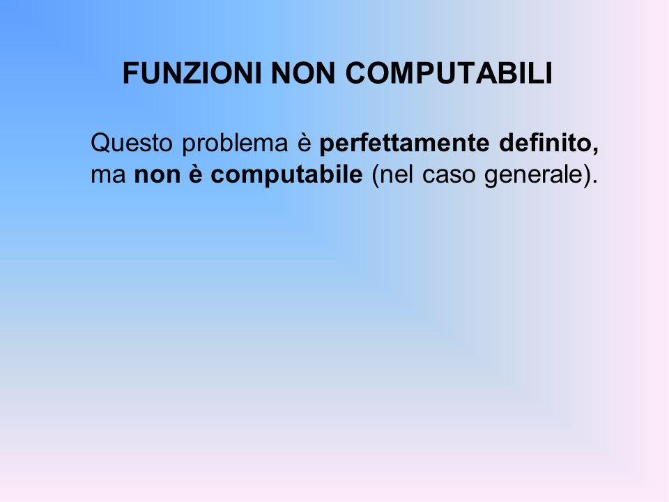 FUNZIONI NON COMPUTABILI Questo problema è perfettamente definito, ma non è computabile (nel caso generale).