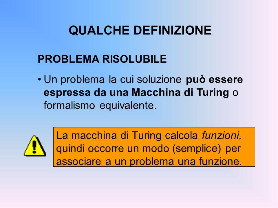 QUALCHE DEFINIZIONE PROBLEMA RISOLUBILE Un problema la cui soluzione può essere espressa da una Macchina di Turing o formalismo equivalente. La macchi