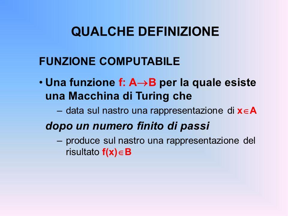 QUALCHE DEFINIZIONE FUNZIONE COMPUTABILE Una funzione f: A B per la quale esiste una Macchina di Turing che –data sul nastro una rappresentazione di x