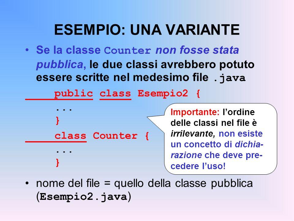 ESEMPIO: UNA VARIANTE Se la classe Counter non fosse stata pubblica, le due classi avrebbero potuto essere scritte nel medesimo file.java public class Esempio2 {...