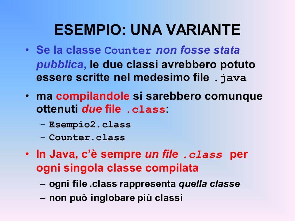 ESEMPIO: UNA VARIANTE Se la classe Counter non fosse stata pubblica, le due classi avrebbero potuto essere scritte nel medesimo file.java ma compilandole si sarebbero comunque ottenuti due file.class : –Esempio2.class –Counter.class In Java, cè sempre un file.class per ogni singola classe compilata –ogni file.class rappresenta quella classe –non può inglobare più classi