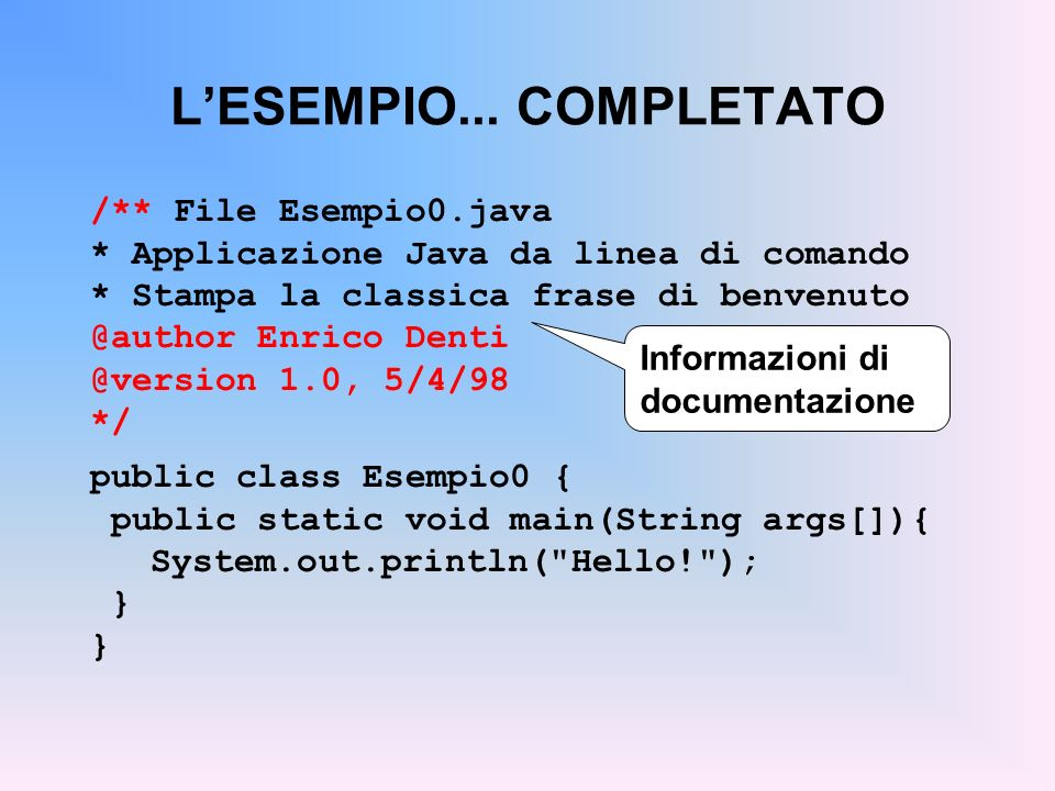 ESEMPIO: UN CLIENTE Contiene ununica funzione statica (il main), che crea e usa un nuovo oggetto Counter Non può fungere da stampo per costruire og- getti (non ha dati o funzioni non- static ) public class Esempio1 { public static void main() { Counter c = new Counter(); c.reset(); c.inc(); c.inc(); System.out.println(c.getValue()); } La frase Counter c; definisce un riferimento a un (futuro) oggetto di classe Counter Loggetto di tipo Counter viene però creato dinamicamente solo in un secon-do momento, mediante loperatore new