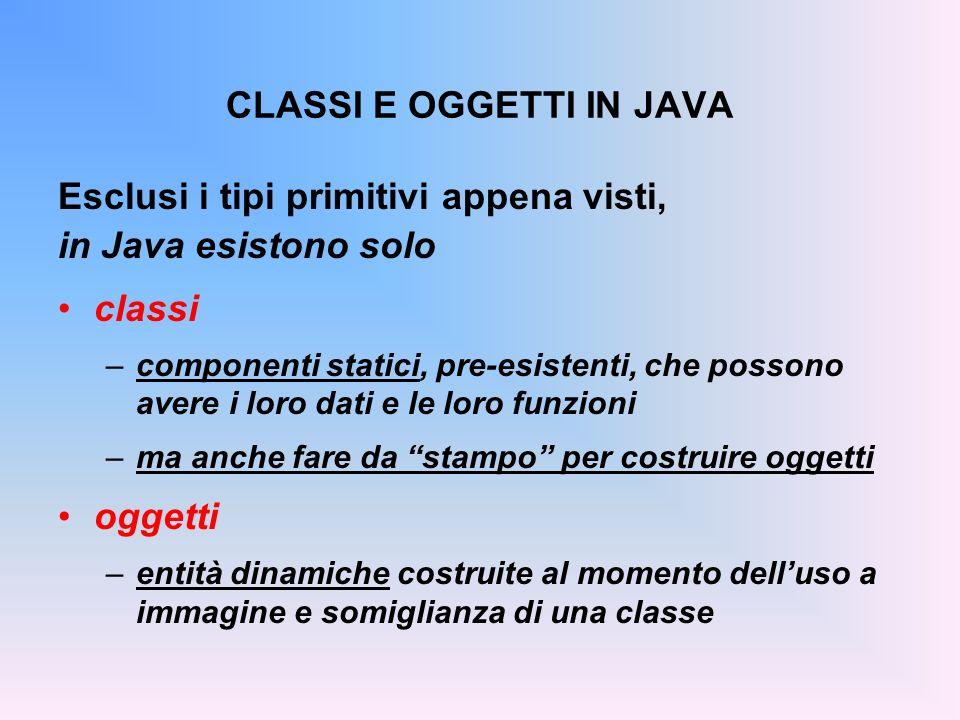 CLASSI E OGGETTI IN JAVA Esclusi i tipi primitivi appena visti, in Java esistono solo classi –componenti statici, pre-esistenti, che possono avere i loro dati e le loro funzioni –ma anche fare da stampo per costruire oggetti oggetti –entità dinamiche costruite al momento delluso a immagine e somiglianza di una classe