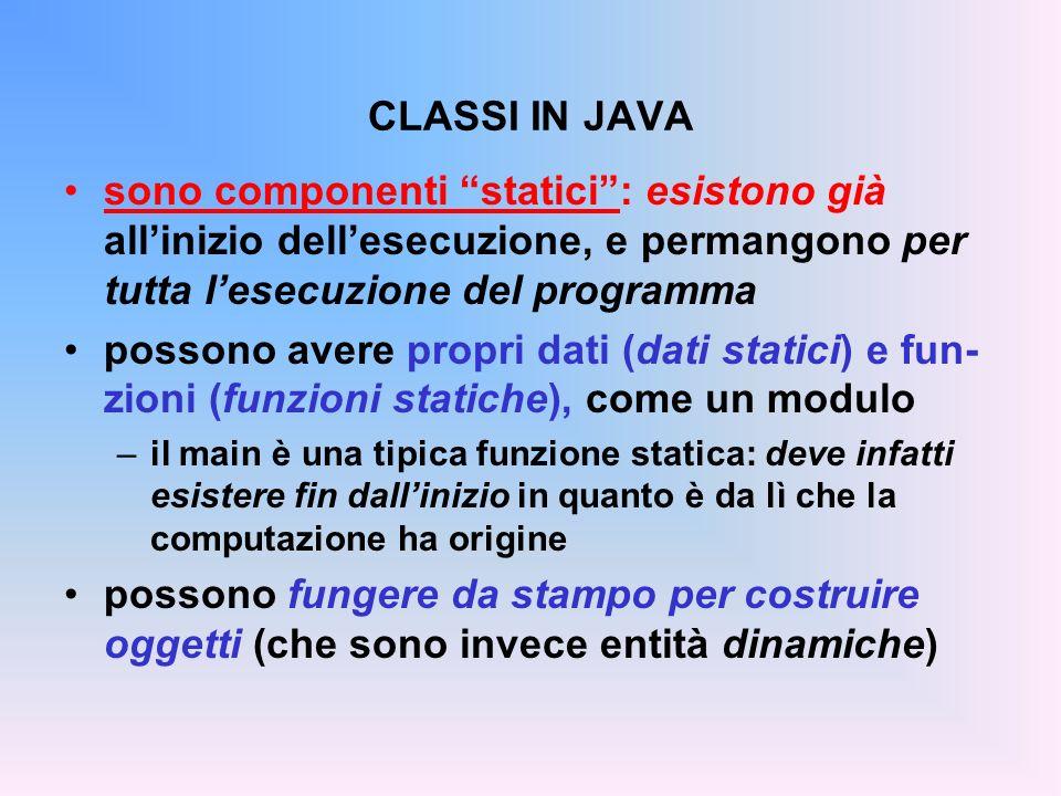 CLASSI IN JAVA sono componenti statici: esistono già allinizio dellesecuzione, e permangono per tutta lesecuzione del programma possono avere propri dati (dati statici) e fun- zioni (funzioni statiche), come un modulo –il main è una tipica funzione statica: deve infatti esistere fin dallinizio in quanto è da lì che la computazione ha origine possono fungere da stampo per costruire oggetti (che sono invece entità dinamiche) Dati e funzioni static appartengono al componente classe non definiscono la struttura di oggetti Dati e funzioni non- static non appartengono al componente classe definiscono la struttura degli oggetti creati dinamicamente a immagine della classe