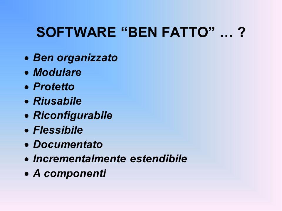 SOFTWARE BEN FATTO … ? Ben organizzato Modulare Protetto Riusabile Riconfigurabile Flessibile Documentato Incrementalmente estendibile A componenti