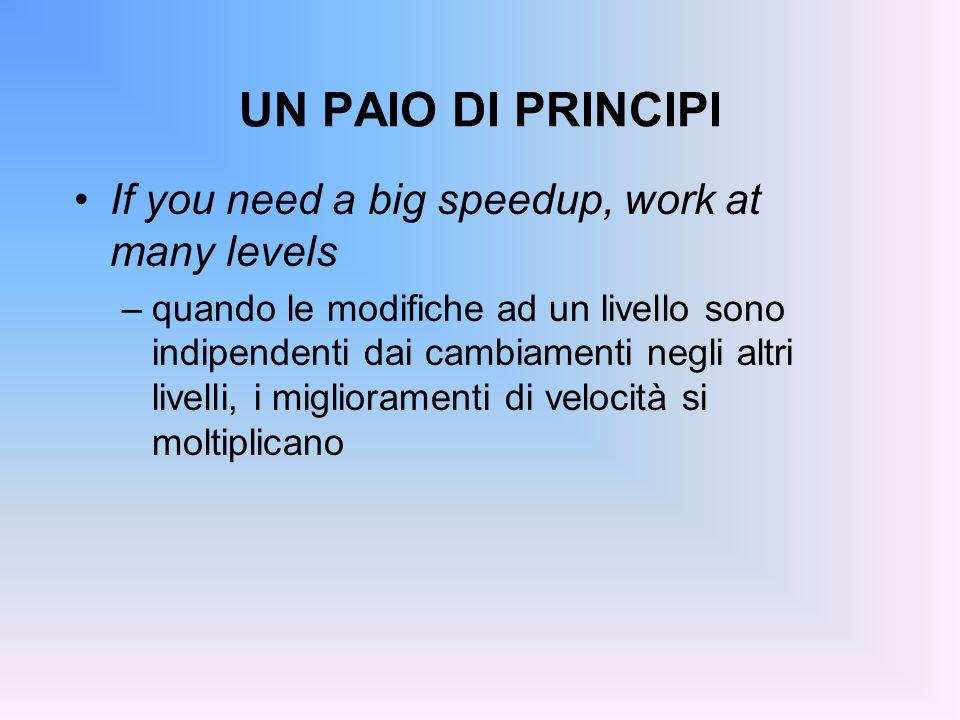UN PAIO DI PRINCIPI If you need a big speedup, work at many levels –quando le modifiche ad un livello sono indipendenti dai cambiamenti negli altri li