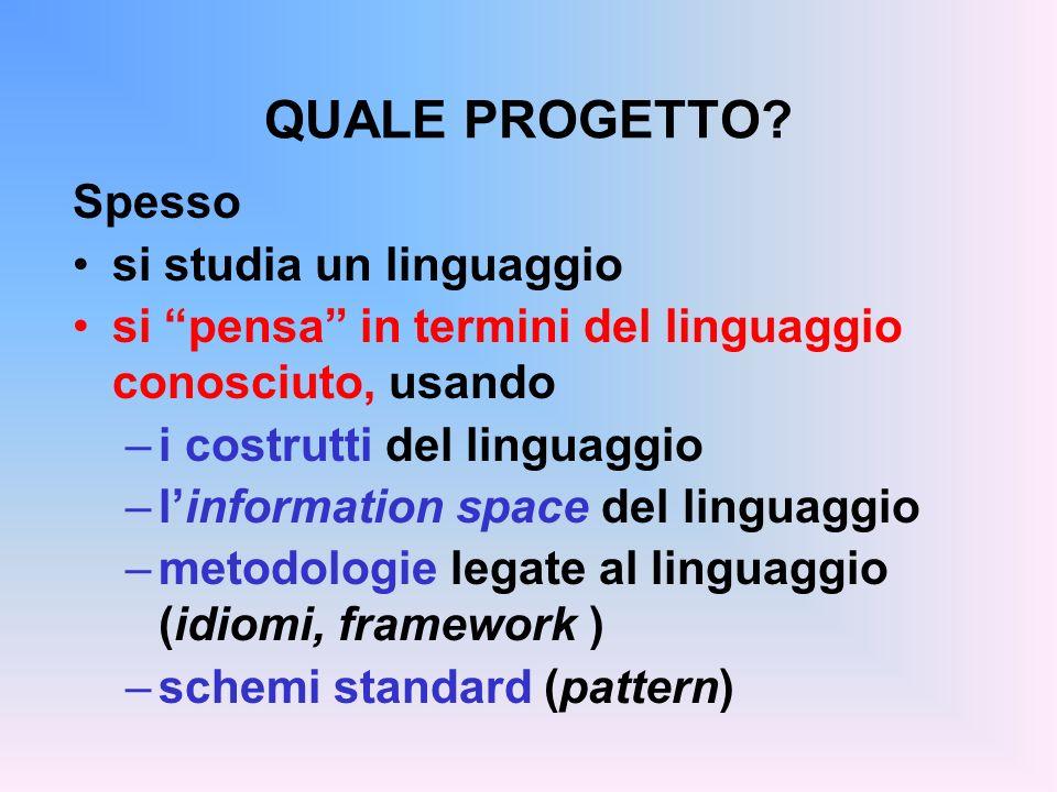 QUALE PROGETTO? Spesso si studia un linguaggio si pensa in termini del linguaggio conosciuto, usando –i costrutti del linguaggio –linformation space d
