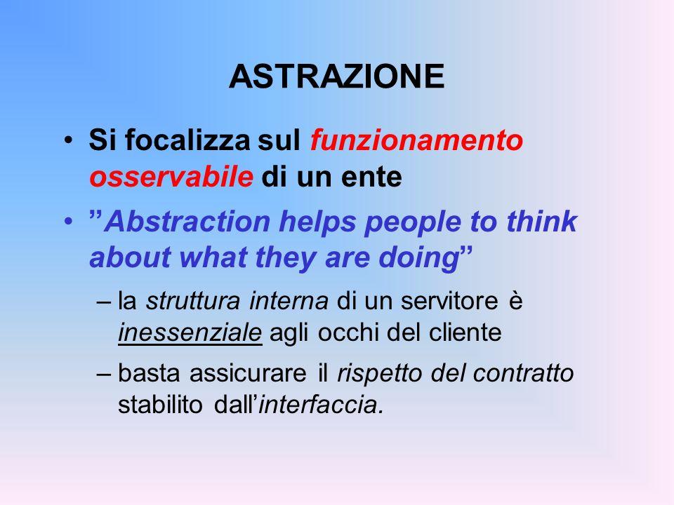 ASTRAZIONE Si focalizza sul funzionamento osservabile di un ente Abstraction helps people to think about what they are doing –la struttura interna di
