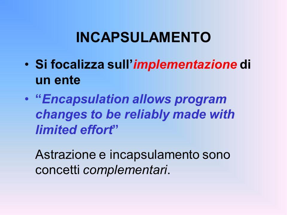 INCAPSULAMENTO Si focalizza sullimplementazione di un ente Encapsulation allows program changes to be reliably made with limited effort Astrazione e incapsulamento sono concetti complementari.