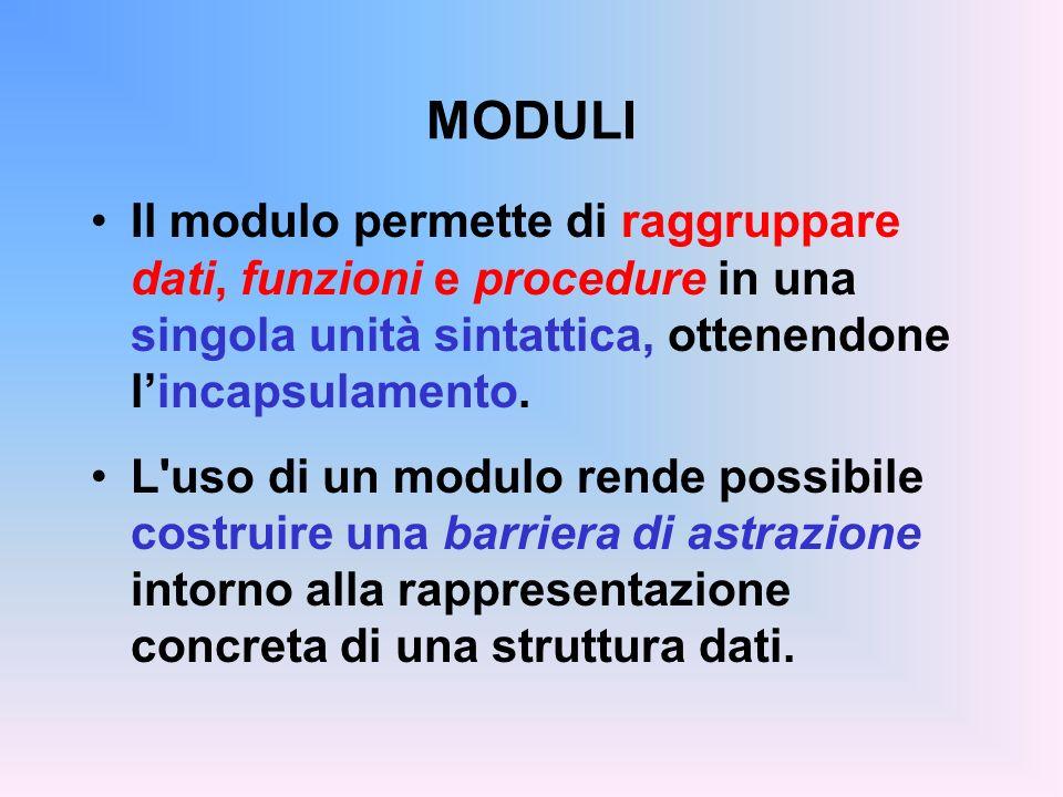 MODULI Il modulo permette di raggruppare dati, funzioni e procedure in una singola unità sintattica, ottenendone lincapsulamento.