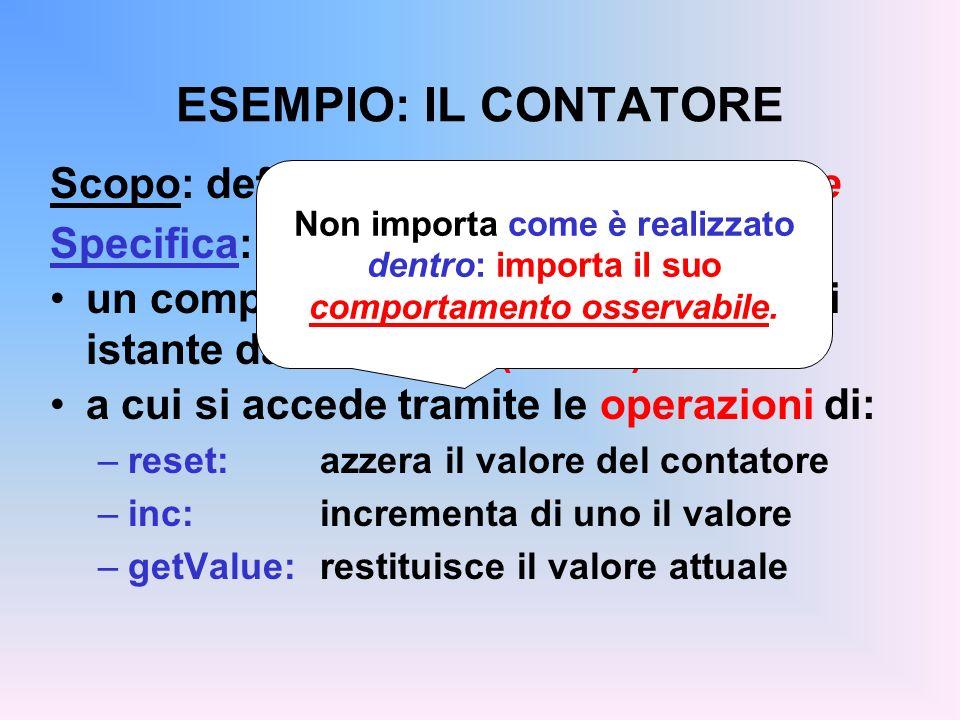 ESEMPIO: IL CONTATORE Scopo: definire il concetto di contatore Specifica: un componente caratterizzato in ogni istante da un valore (intero) a cui si